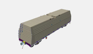 Multifunctional platform for 1,520 mm rail – transporting roll steel with protection (model)