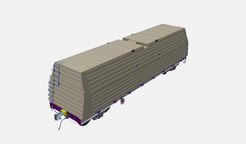 Многофункциональная платформа для ж. д. колеи 1520 мм - перевозка рулонной стали с защитой (модель)