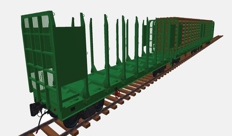 Многофункциональная платформа для ж. д. колеи 1520 мм - перевозка длинномерных грузов (модель)