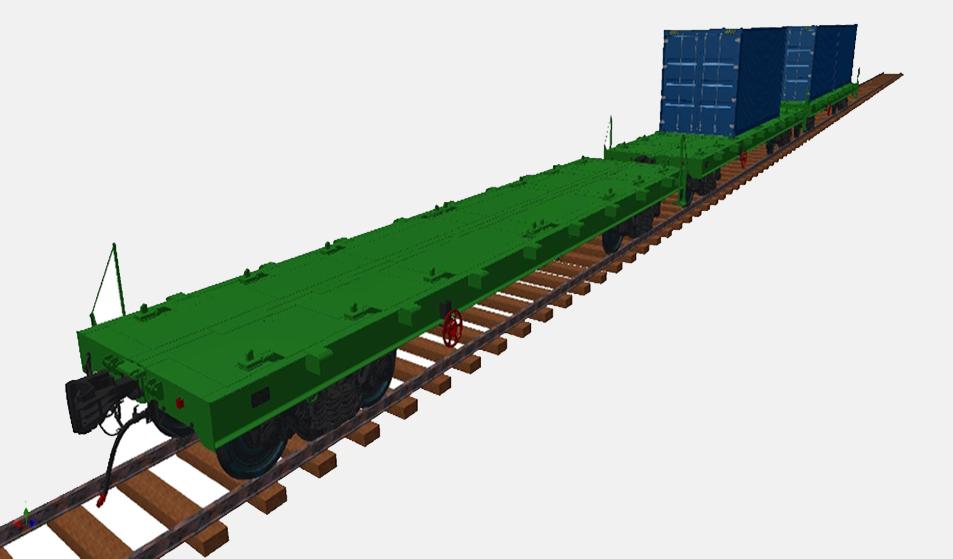 Многофункциональная платформа для ж. д. колеи 1520 мм - перевозка контейнеров (модель)