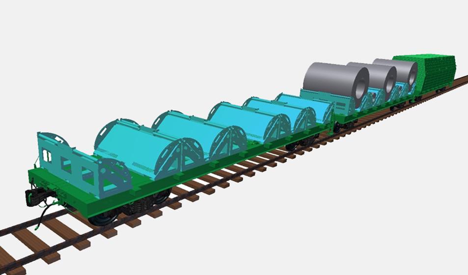 Многофункциональная платформа для ж. д. колеи 1520 мм - перевозка рулонной стали (модель)